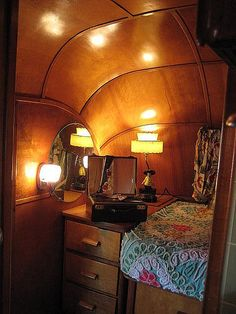 Beautiful vintage old wood trailer interior, nice retro decor...