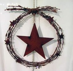 Barbed Wire Star Wreath...baby brother's house?!