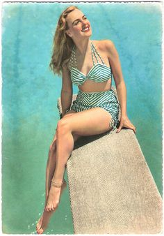 Diving right into sensational 1950s summer style. #beach #summer #1950s #vintage #swimsuit