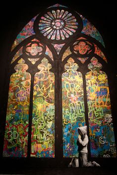 """Amazing Banksy """"Stained Glass"""" street art!"""