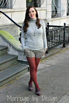 Oxblood tights and Oxford shoes