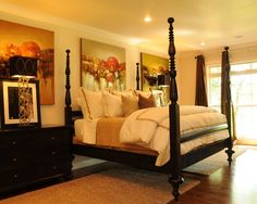 Four Poster Bed Design- No skirt, bedding