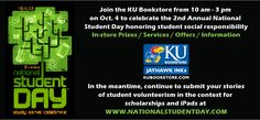 @KU Bookstore is participating in National Student Day 2012. On October 4, from 10am to 3pm the bookstore is having prizes, offers and much more. Make sure @University of Kentucky students stop by to celebrate students for being socially responsibly.