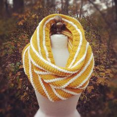 Loving the stripe pattern.  Alpaca Wool Texture Striped Cowl - Yellow and