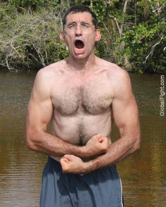 man yelling swamp hiking pictures