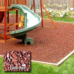 rubber mulch for the kids swing set and play area