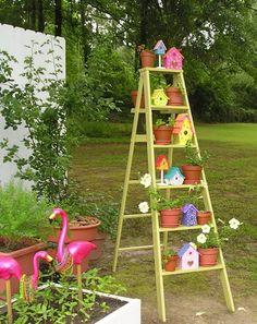 plant, birdhous, ladder garden art, yard, stuff