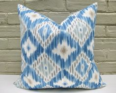 IKAT Pillow Cover Blue 18 x 18 Double Sided. $20.00, via Etsy.