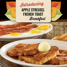 Enjoy the sweet taste of apple in every bite! Real apples are baked into the bread in our new Apple Streusel French Toast. Enjoy it alone or in a full breakfast with eggs cooked to order and a side of bacon or sausage.