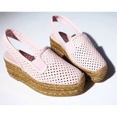 We've fallen for these Stella McCartney perforated faux-leather espadrilles in the palest pink. MATCHESFASHION.COM #MATCHESFASHION