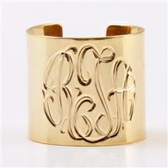 Monogram Gold Plate Cuff Ring