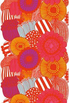 wall art, interior design, cotton, color palettes, orang, pattern, flower prints, marimekko, bright colors