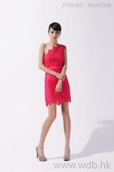 Elegant one shoulder above the knee-length lace bridesmaid dress
