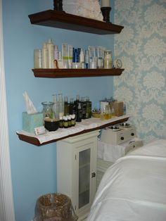 Jenn's new facial room.  Pretty blue.