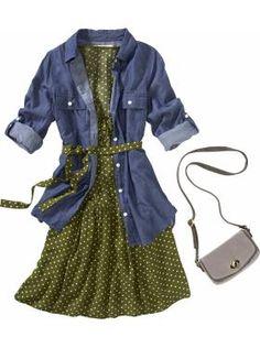 Dress with denim shirt