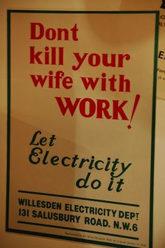 Electrocute her instead!    1950s ad for electricity