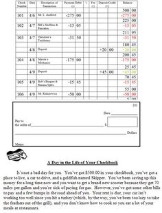 this check writing worksheet will give students practice writing checks and recording their. Black Bedroom Furniture Sets. Home Design Ideas