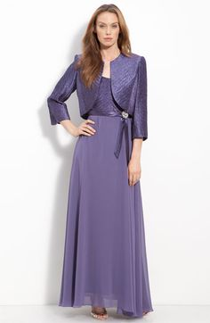 Patra Pleated Satin & Chiffon Gown with Jacket | Nordstrom
