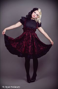 Gothic Lolita Dress - Red and Black Velvet Flocked Jumper plus size goth, red, gothic lolita hair, halloween costumes, velvet flock, jumpers, plus size dresses, black velvet, lolita outfit