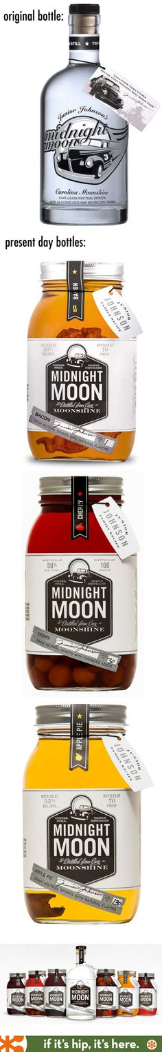 Junior Johnson's Midnight Moon Flavored Moonshine packaging. Original bottle and present day bottles.