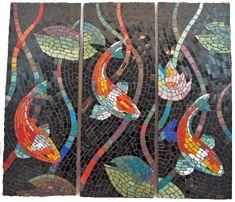 glass art, mosaics, koi fish, fish mosaic, glass mosaic, stain glass, mosaic tiles, glass tiles, koi glass