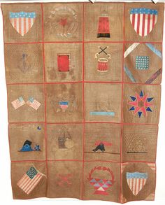 "Civil War Quilt, 68"" x 86"", made by the Ladies Aid Society, Portland, Maine, c. 1864"