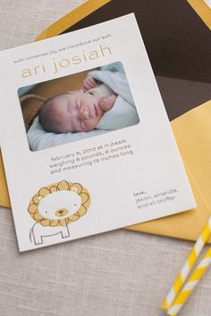 Lion Letterpress Baby Announcements by Pink Orchid Press via Oh So Beautiful Paper (3)