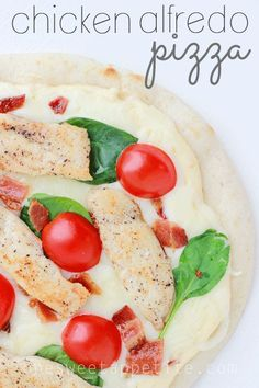 Chicken Alfredo Pizza. Made on a pita which makes it quick to whip up and the alfredo sauce is delicious!