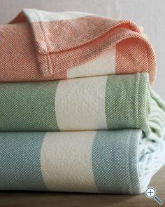 Border Stripe Blanket, $178 to $298, Garnet Hill