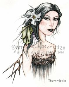 Dangerous Beauties~Thorn Apple~Version 2 www.innerfaecreations.com © Art of Trisha Leigh Shufelt 2014