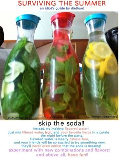 I should really try this, I drink waaay too much diet soda. I'm liking the Strawberry Mint infused water. Cucumber water is always good too. Also, where can I buy these pitchers?