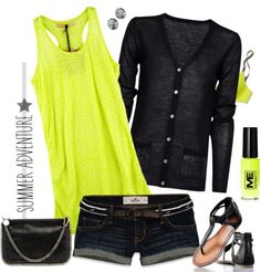 """""""black and neon"""" by jill-hammel on Polyvore"""