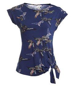 Blue Pattern (Blue) Blue Bird Print Side Tie Top | 262392349 | New Look
