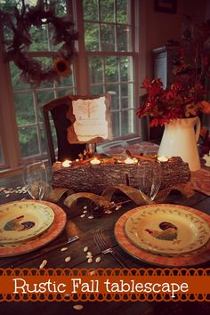 Fall tablescape, craft and diy log candle.#debbiedoos