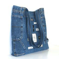 Recycled jean handbag , Large handmade reclaimed denim shoulder tote bag in blue