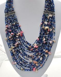 24 Strand Sapphire Blue Glass Bead Mother of Pearl Shell Estate Necklace Vintage | eBay