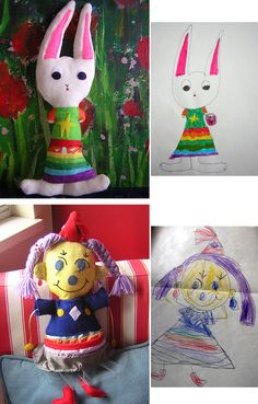 this is so great - you send in your child's drawing and they create a stuffed toy from it!