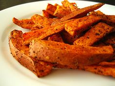 Baked Sweet Potato Fries - one serving is only 81 calories! cut up sweet potatoes, toss the wedges with a little bit of olive oil, salt, and pepper, and bake at 400 degrees for about 20 minutes.