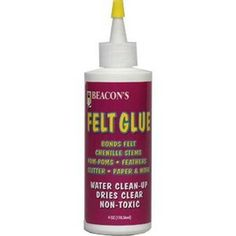 Best Glue in the world for felt! Non toxic, dries clear, bonds felt permanently!