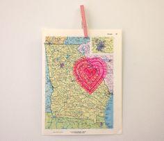 Cute DIY Map Print idea