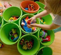 bucket storage (made with zip ties!)