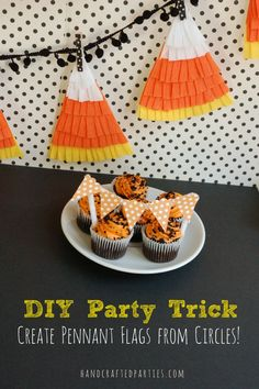 Candy Corn Pennant Banner ~ cute idea from handcraftedparties.com