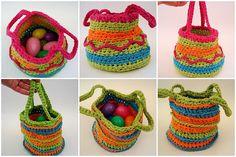 crochet easter, baskets, easter basket
