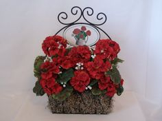 Red Geranium Metal Basket by PetalsandBowsbyDebbe on Etsy, $28.00