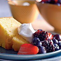 Lemon-Cornmeal Pound Cake with Berries and Cream | MyRecipes.com