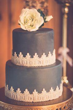 black and ivory cake, photo by Kivalo Photography http://ruffledblog.com/1st-portland-notwedding #weddingcake #cakes