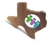 Texas Baby Rattle - Modern Wooden Baby Toy - Organic and Natural