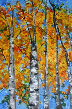 Original Birch Landscape Tree Painting Palette Knife Oil on Canvas Contemporary Modern Art  fine art impasto by Karen Tarlton. $425.00, via Etsy.