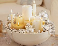 Great Inexpensive Accent-diy bowl, bead, christmas centerpieces, christmas tables, holiday centerpieces, christmas decorations, ornament, christmas candles, candle centerpieces
