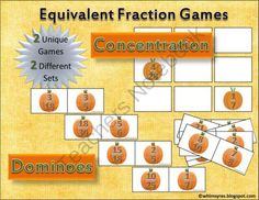 Pumpkin Fraction Dominoes - Fall Autumn Equivalent Math Center from Whimsy Resources on TeachersNotebook.com -  (11 pages)  - Pumpkin Fraction Dominoes - Identifying Equivalent Fractions  Instant Math Center